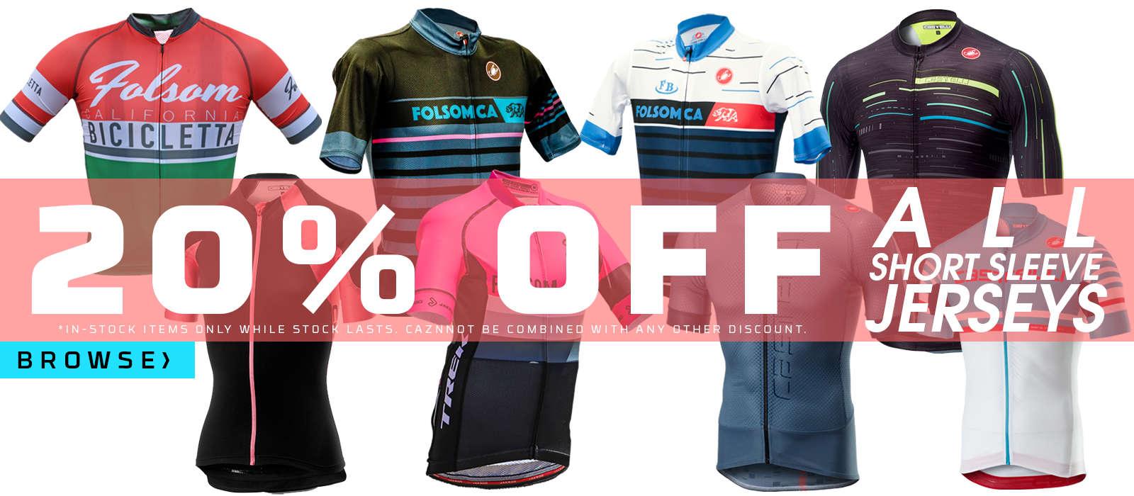 20% off all short sleeve jerseys