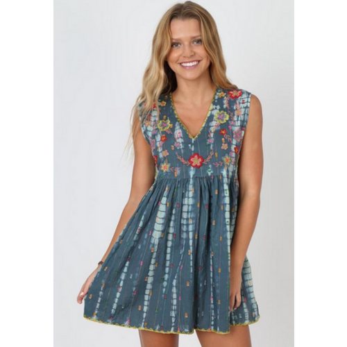 Natural Life Aqua Embroidered Tie-Dye Dress