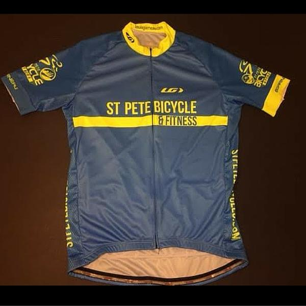 St Pete Bicycle & Fitness Per Slick Blue Retro Jersey