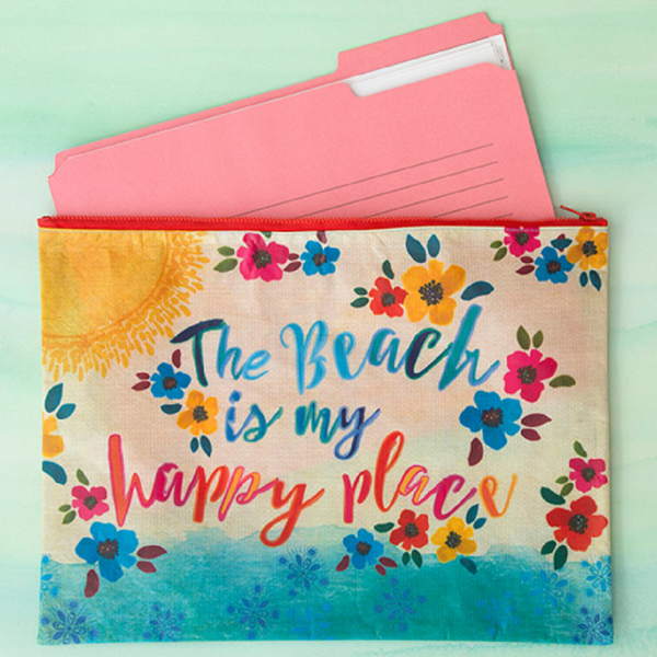 Natural Life Beach Happy Place Jumbo Recycled Pouch