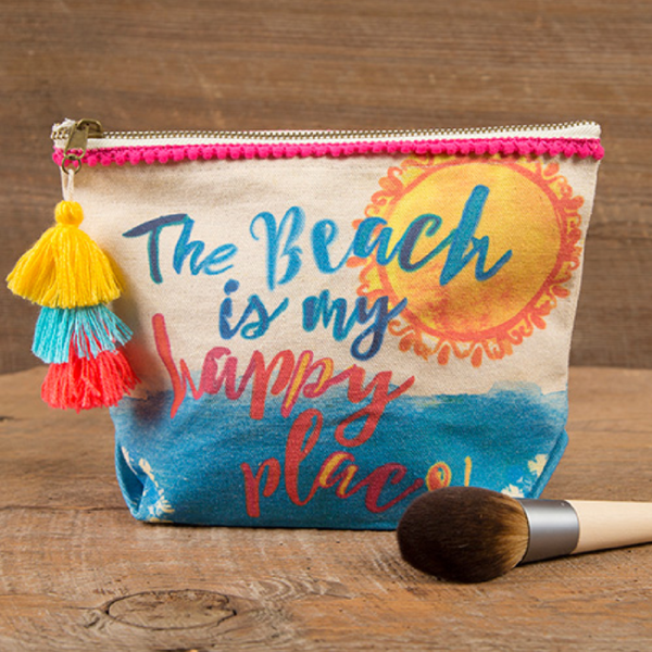 Natural Life Beach Is My Happy Place Canvas Pouch