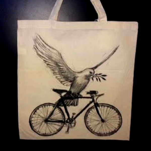 Dark Cycle Clothing Peace Dove on a Bicycle Tote Bag