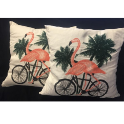 Dark Cycle Clothing [ flamingo on a bicycle ] pillow