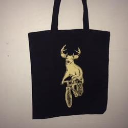 Dark Cycle Clothing Deer on a Mtn Bike Tote Bag
