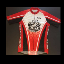 St Pete Bicycle & Fitness Men's Red and Black Jersey