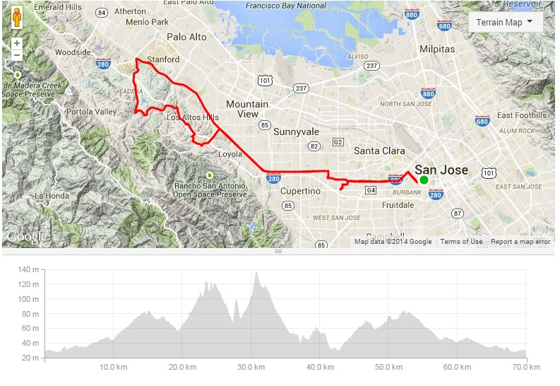 map of Saturday morning ride #2