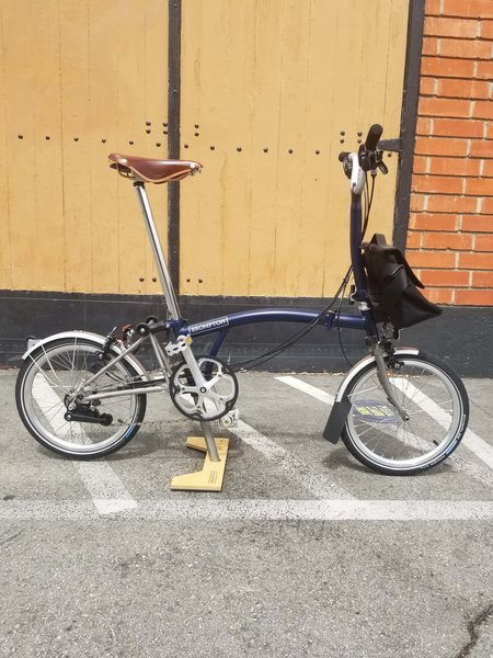 Brompton M6L-X Tempest Blue Ti with Shoulder bag