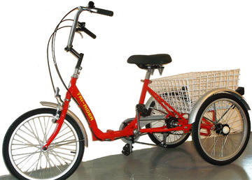 "Belize Tri-Rider 20"" Folding Trike Color: Folding, Red, 6 Speed"