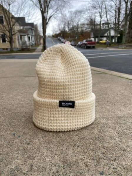Anchored Coffee Knit Waffle Hat