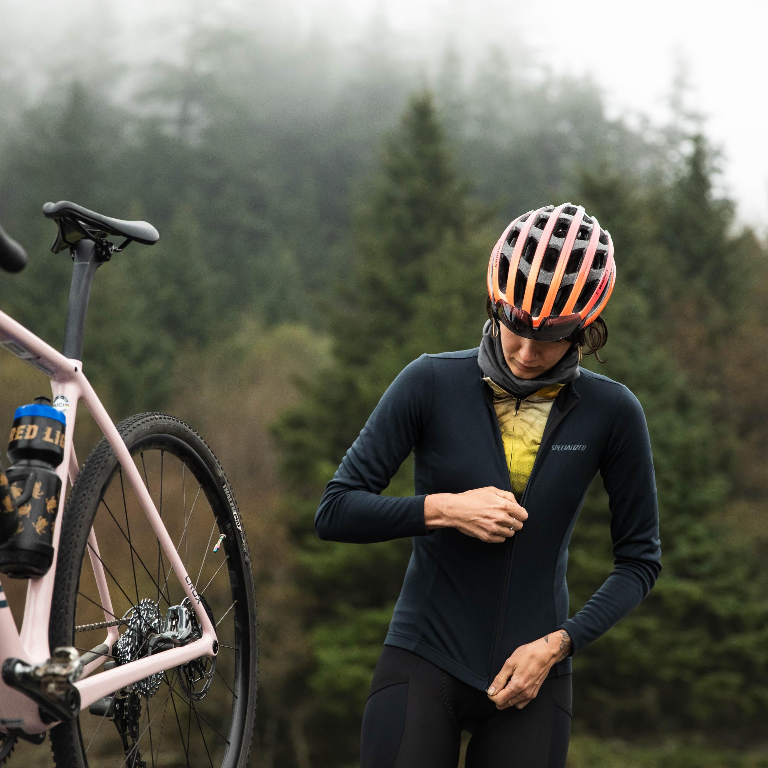 Rider wearing cycling apparel