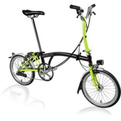 Brompton M6L Folding Bike, Black/Lime Green