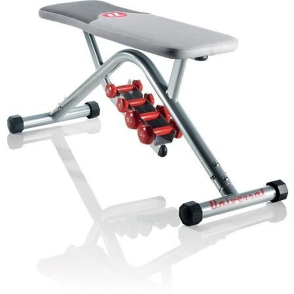 Universal Utility Bench With Dumbbells