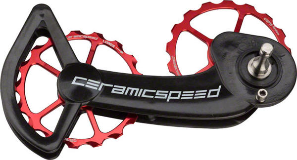CeramicSpeed Oversized Pulley Wheel System SRAM eTap 11-Speed Non-Coated Red Pulleys and Black Cage