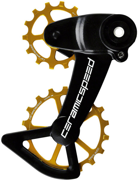 CeramicSpeed OSPW X Oversized Pulley Wheel System for SRAM Eagle Mechanical - Coated, Alloy Pulley, Carbon Cage, Gold