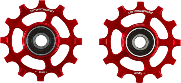 CeramicSpeed Pulley Wheel Oversized SRAM AXS Road 12-Speed, Red Coated
