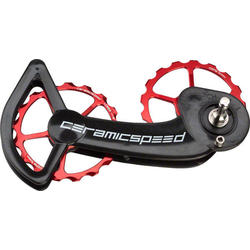 CeramicSpeed Oversized Pulley Wheel System SRAM eTap 11-Speed Coated Bearings Red Pulleys and Black Cage