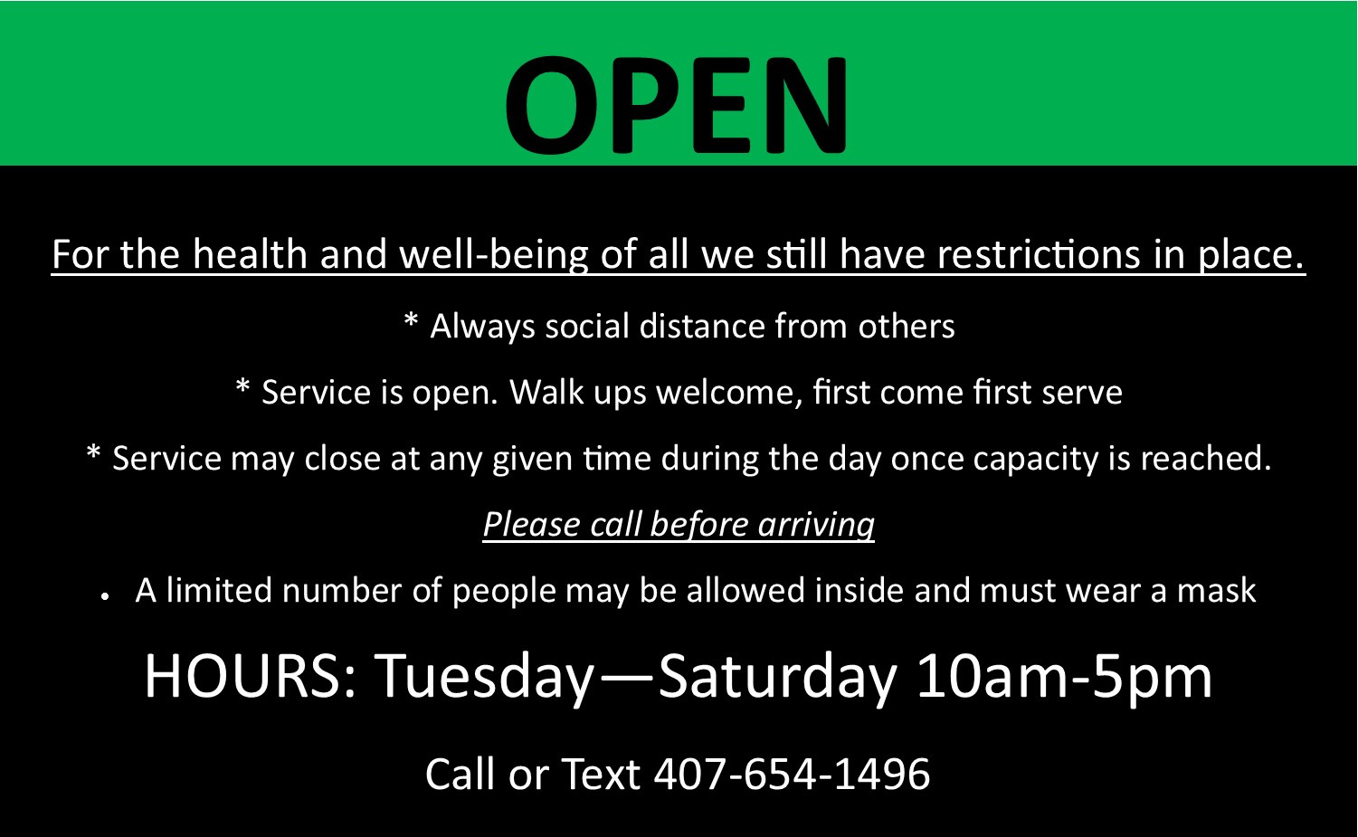 COVID-19 Message - Open With Restrictions - Tuesday-Saturday 10am-5pm