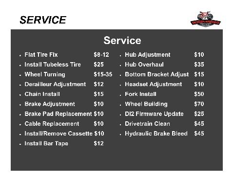 Bike Repair Prices