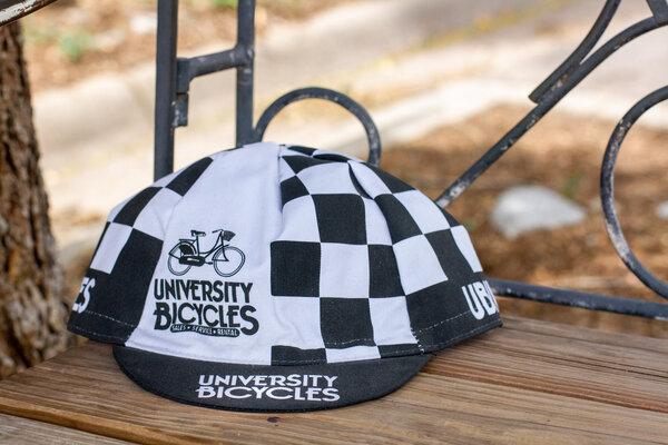 University Bicycles Checkered Cycling Cap Black/White