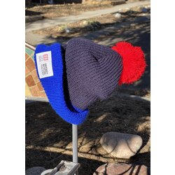 University Bicycles Topo Designs Pom Beanie Black/Red/Blue