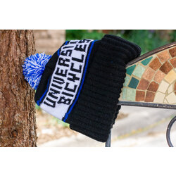 University Bicycles Pom Beanie Black/White/Blue Hat