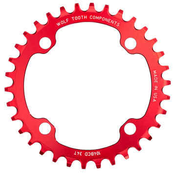Wolf Tooth Components red anodized 104 bcd chainrings