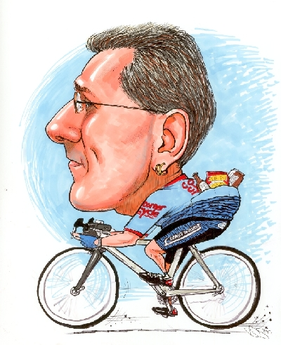 Caricature of George Sykes on bike