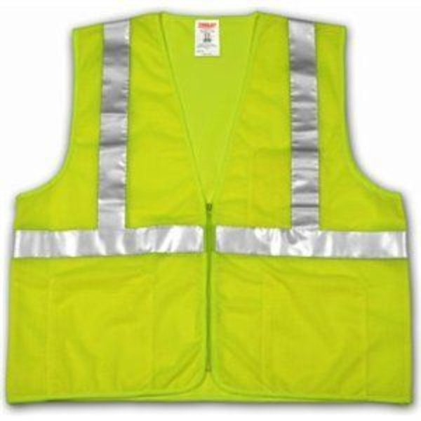 Tingley Rubber Hi-Viz Vest, ANSI 107 Class II, Lime/Yellow Polyester Mesh