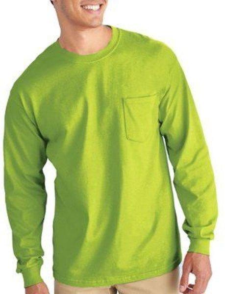 Gilden Apparel Safety Green Long sleeve T-Shirt