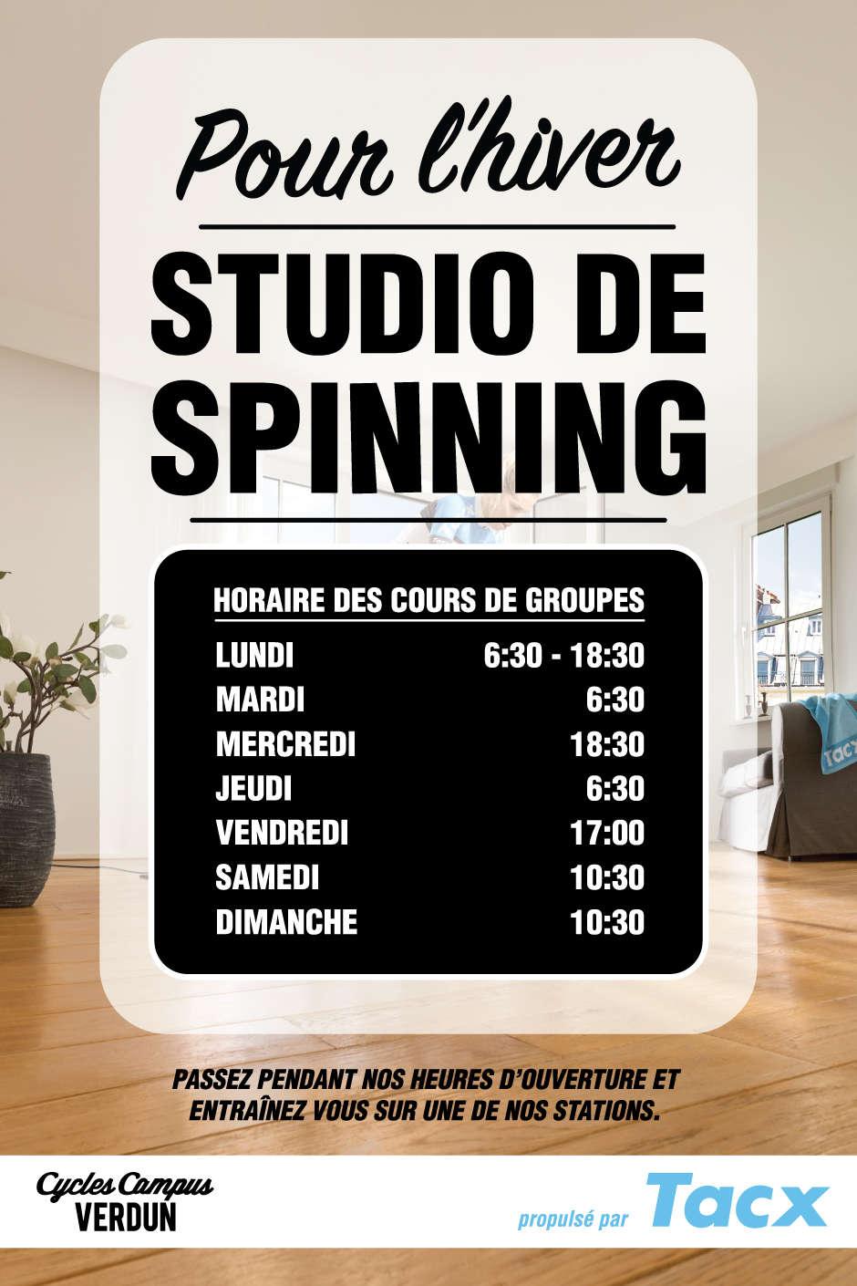 horaire des cours de studio de spinning