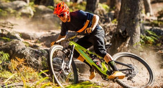 demo mountain bikes on trail