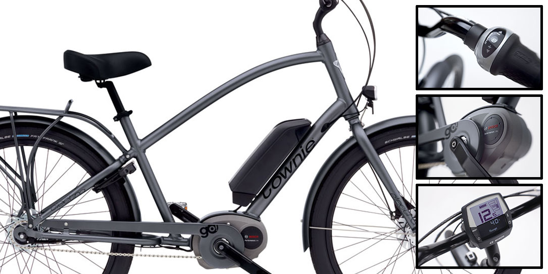 Photo of an Electra Townie ebike and components