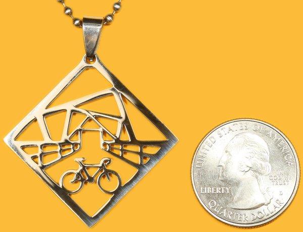 Bike World Stainless Steel Pendant