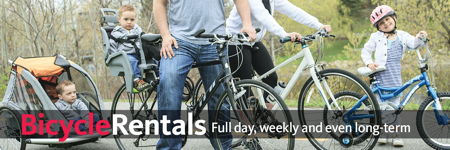 We offer affordable bicycle rental in Fort Collins. We rent road bikes, mountain bikes, hybrid bikes, city bikes, kids bikes, trailers and more. No reservations necessary.