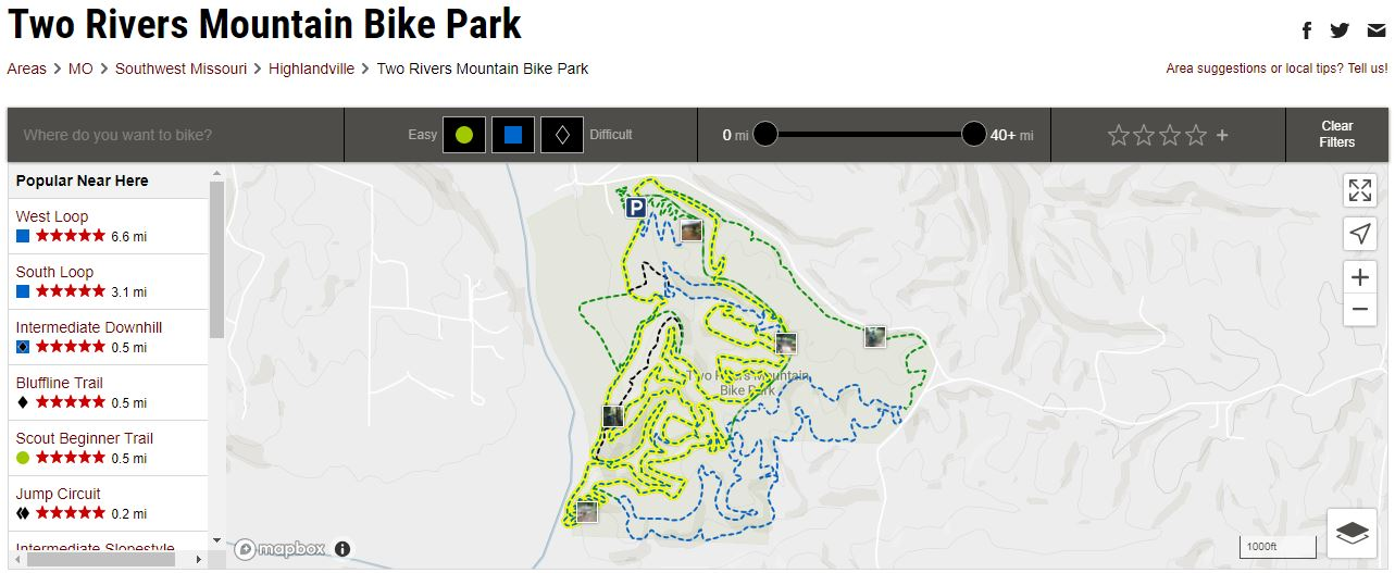 Trail map of Two Rivers Mountain Bike Park