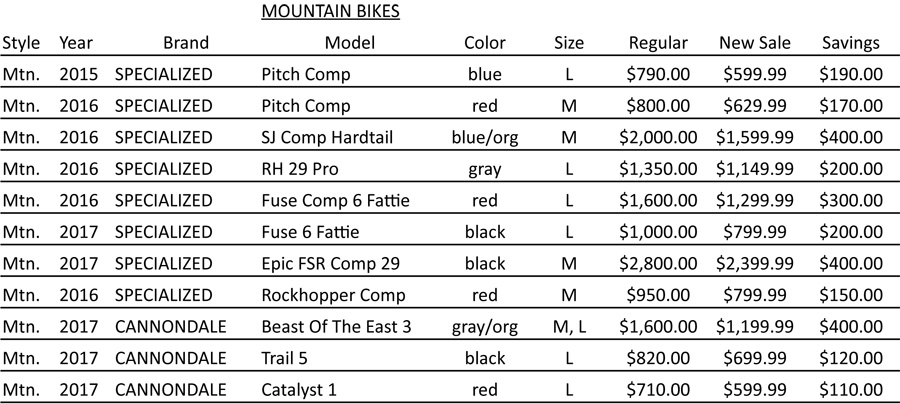 Mountain Bicycle Closeout List - Durst Cycle & Fitness