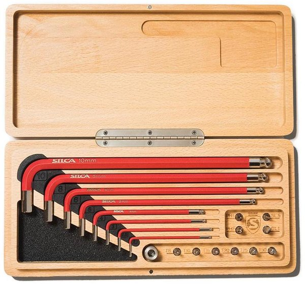 Silca HX1 HEX WRENCHES AND DRIVE TOOL KIT WITH WOOD CASE