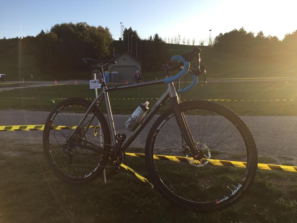 Ryan's Brodie Romax B-Team titanium CX bike at Midweek Cyclocross Series