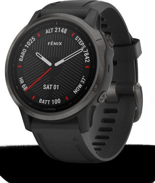 Garmin Fenix 6s Sapphire - Carbon Gray DLC with Black Band