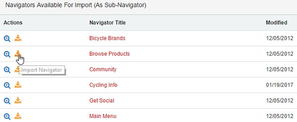 Navigators Available for Import (As Sub-Navigator)