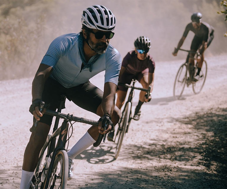 Group of riders on road bikes