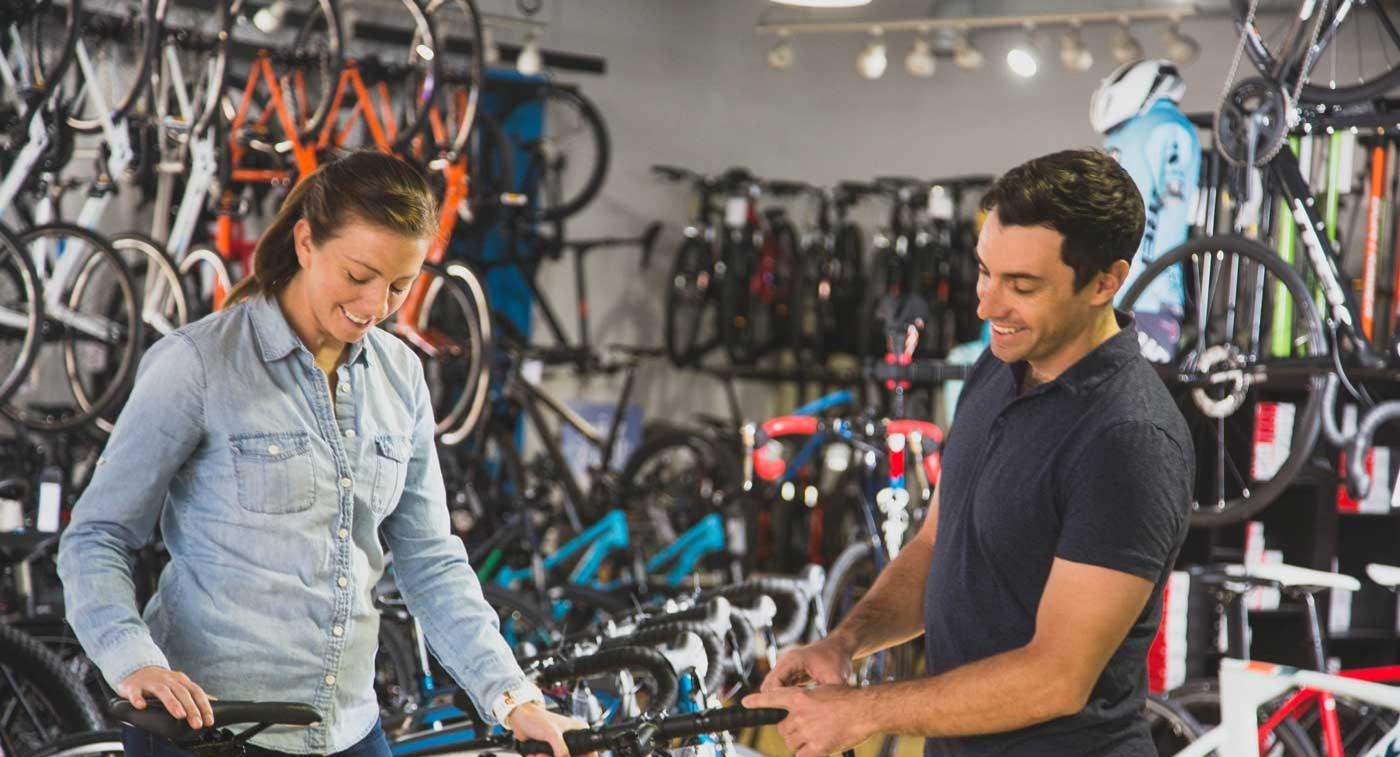two bike staff in showroom