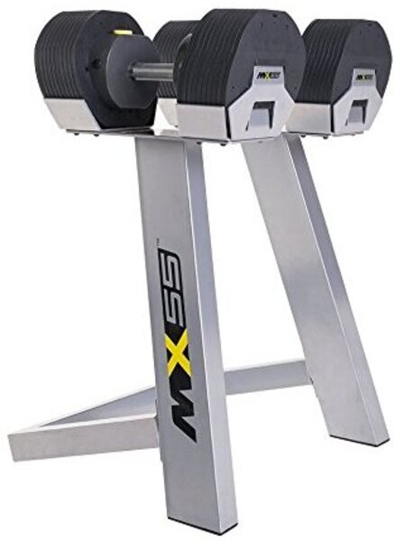 Golden Designs MX55 Selectorized Dumbbells, adjustable range 10-55 lbs., includes stand