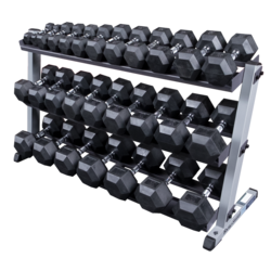 Body-Solid 5-70lbs. Rubber Hex Dumbbells w/ Rack