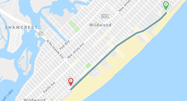 The Wildwood's Boardwalk TRAM CAR map