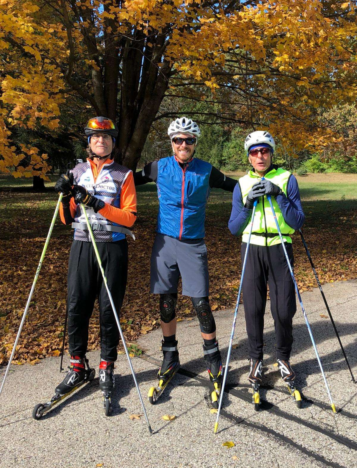 Roller skiing with friends