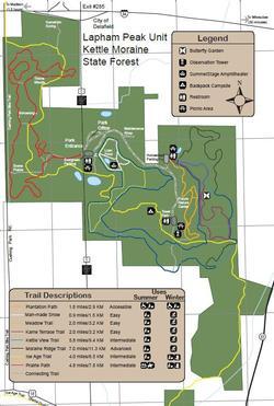 Lapham Peak Delafield ski trail map