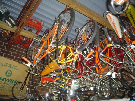 Schwinn Fastbacks, Sting-Rays, and High wheeler (in back ground)