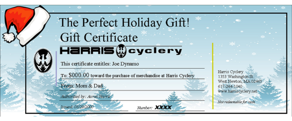 Harris Cyclery Gift Certificate