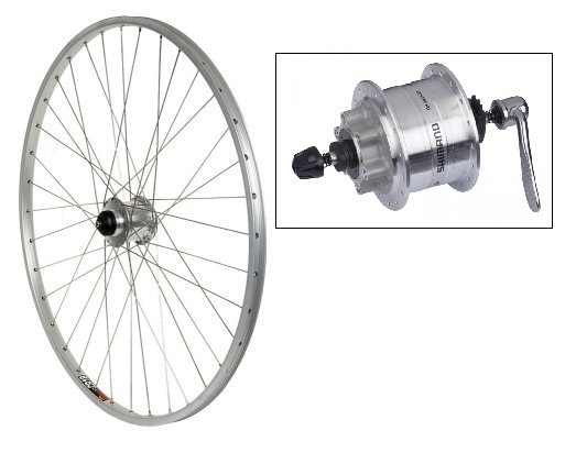 Harris Cyclery Generator Front Wheel Sun CR-18 Rim, Shimano DH-3D32 Hub, 36 DT Spokes